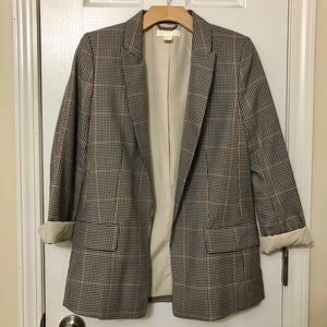 H&M Black, White, and Red Checked Blazer